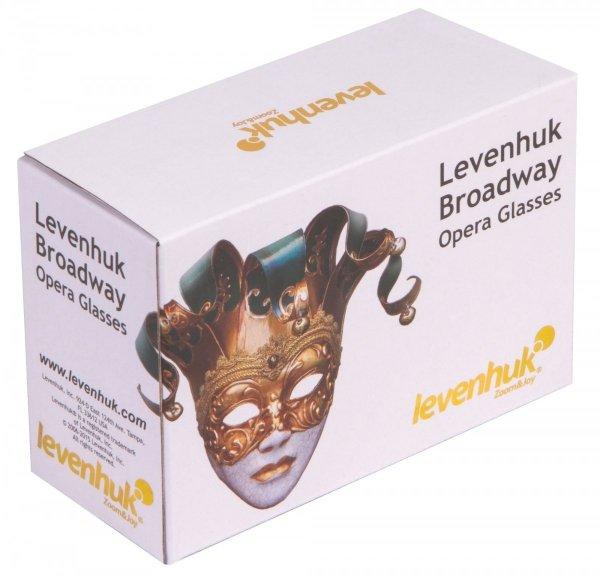 Lornetka teatralna Levenhuk Broadway 325F (biała, z oświetleniem LED i łańcuszkiem)