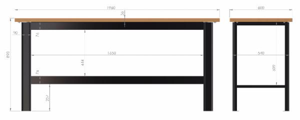 N-3-00-02 STÓŁ WARSZTATOWY PODSTAWOWY  BLAT OBITY GUMĄ  (SZER. BLATU 1960 mm)