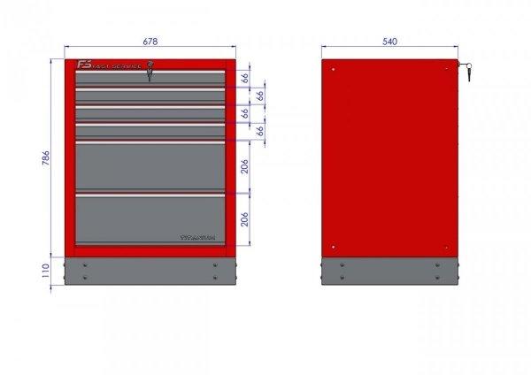 Szafka warsztatowa z 6 szufladami – T-17  głębokie szuflady