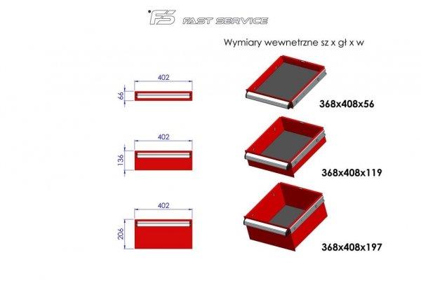 Wózek narzędziowy MEGA z 10 szufladami PM-215-15
