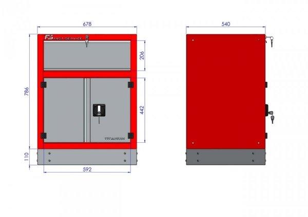 Szafka warsztatowa z 1 szufladą i drzwiami – T-32 wymiary