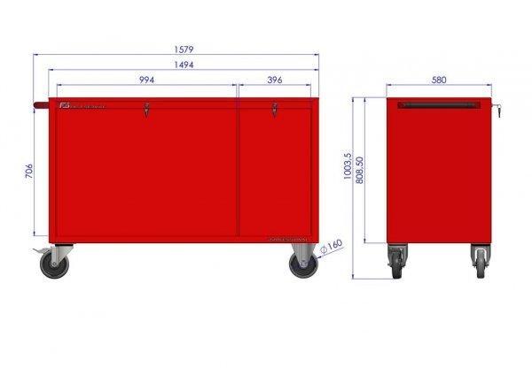 Wózek narzędziowy MEGA z 12 szufladami PM-214-17
