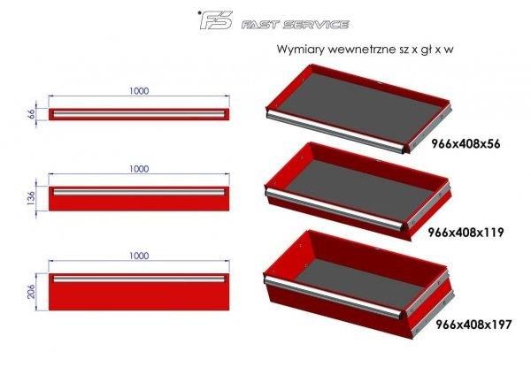 Wózek narzędziowy MEGA z 16 szufladami PM-216-16
