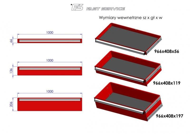 Wózek narzędziowy MEGA z 16 szufladami PM-210-17