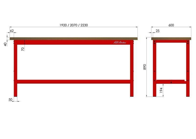 Stół warsztatowy podstawowy 2230x600mm 1500kg wymiary