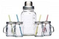 Kitchen Craft Szklany shaker + 4 minisłoiki z uchwytem - zestaw
