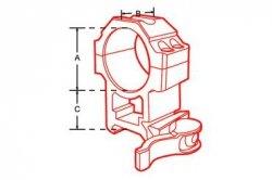 Montaż szybki dwuczęściowy średni Leapers UTG 1''/weaver Quick Detach 6 śrub