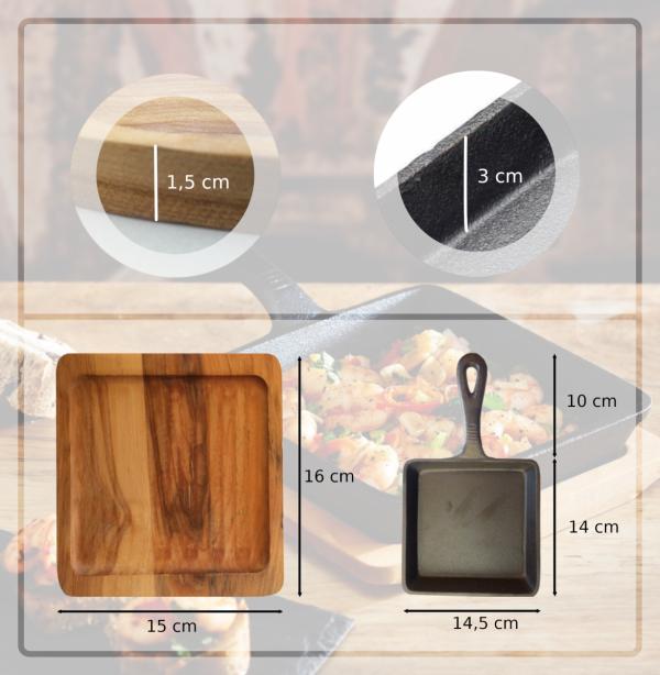 Kitchen Craft Patelnia żeliwna z deską do serwowania - kwadratowa