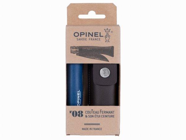 Nóż Opinel Colorama 08 inox grab niebieski z rzemieniem w etui