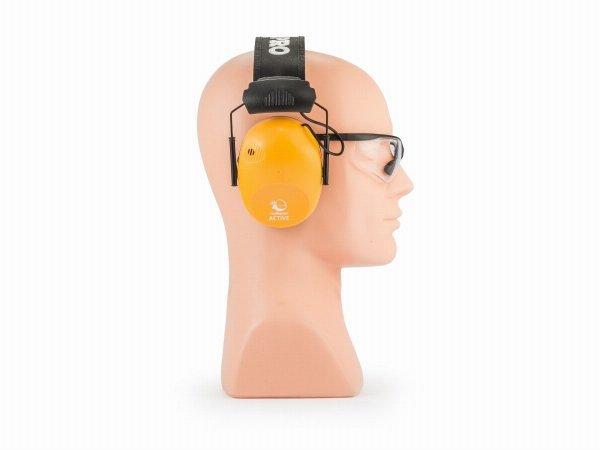 Słuchawki ochronne aktywne RealHunter ACTiVE Pro pomarańczowe + okulary ochronne