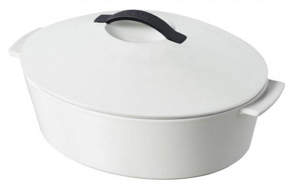 Garnek ceramiczny REVOLUTION 32 cm owalny - biała pokrywa Revol 4,2L
