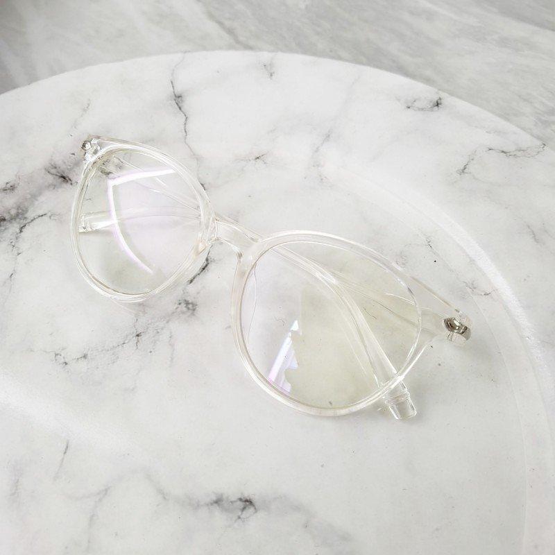 Jasmine - Okulary Zerówki z Antyrefleksem - Białe