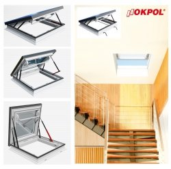 Okno dachowe Okpol PGM A1, otwierane manualnie , dwuszybowe, w kolorze białym PVC UW=1,2,okno wyłazowe.
