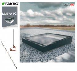 Fakro Okno do płaskiego dachu DMZ-B P2 U=0,95 W/m²K, otwierane manualnie za pomocą drążka ZSD, z nitowanym elementem szklanym , szyba z pochyleniem.