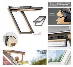 Okno Dachowe Velux GPL 3068 Uw = 1,1 Drewniane Okno klapowo-obrotowe o dużym kącie otwarcia superenergooszczędne, szkło hartowane i laminowane P2A