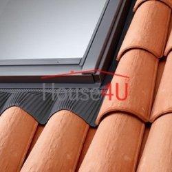 Kołnierz Velux EDW 0000 Do profilowanych materiałów pokryciowych: Dachówki betonowe lub ceramiczne, blachodachówki, strzecha (trzcinowa lub słomiana),