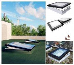 Fakro Okno do dachu płaskiego DMF DU8 z ultra-energooszczędną szybą DU8 Uw=0,64 W/m2K, otwierane manualnie, drążek 220 cm