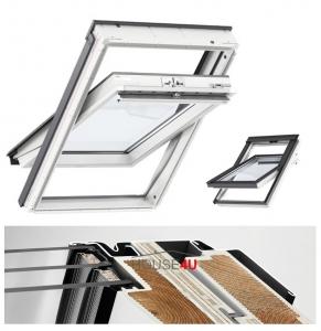 Okno Dachowe Velux GLU 0061 Uw = 1,1 Drewniano-poliuretan<br />owe białe okno obrotowe z górnym otwieraniem i energooszczędnym pakietem szybowym