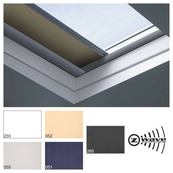 Fakro roleta zaciemniająca do dachów płaskich ARF/D Z Wave grupa cenowa I, przeznaczone do okien typu F, C oraz G sterowana elektrycznie