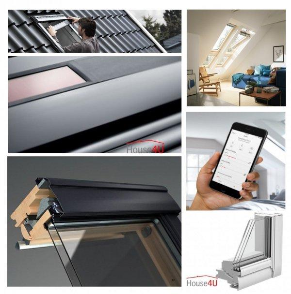 Okno Dachowe Velux INTEGRA GGU 006821 Uw = 1,1 Drewniano-poliuretanowe białe Okno obrotowe sterowane elektrycznie, superenergooszczędne, szkło hartowane i laminowane P2A