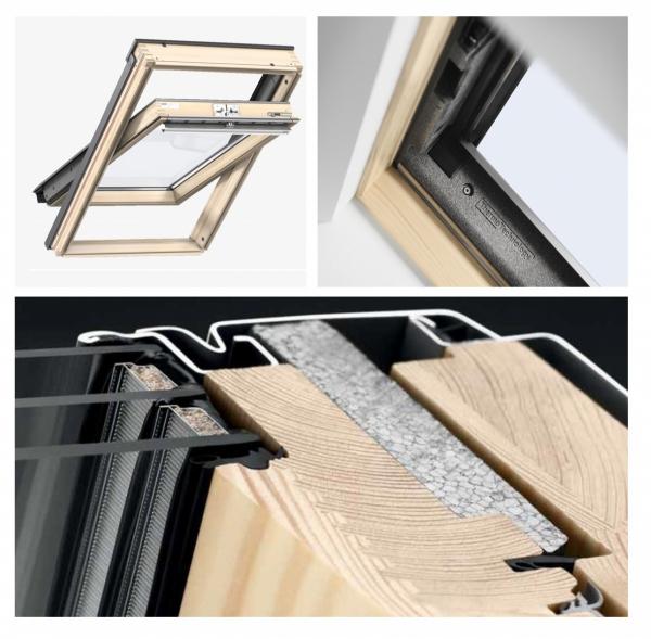 Okno Dachowe Velux GLL 1061 Uw = 1,1 Drewniane Okno obrotowe z górnym otwieraniem i energooszczędnym pakietem szybowym