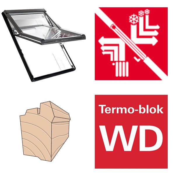 Okno dachowe Roto obrotowe Designo R69P H200 Okno z pakietem 3-szybowym Premium, szkło hartowane i laminowane, drewniane Uw = 0,82/0,8 , Termo-blok WD