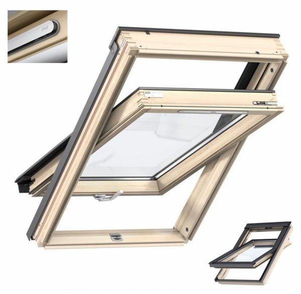 Okno Dachowe Velux GZL 1051 Uw=1,3 Drewniane Okno obrotowe z górnym otwieraniem i energooszczędnym, hartowanym pakietem szybowym