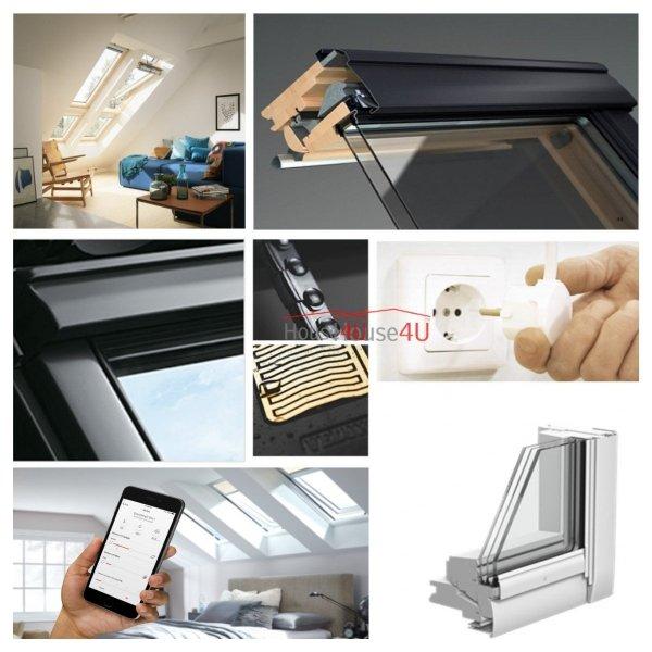 Okno Dachowe Velux INTEGRA GGL 306621 Uw = 1,0 Drewniane Okno obrotowe sterowane elektrycznie, superenergooszczędne, szkło hartowane i laminowane P2A z pakietem wyciszania deszczu