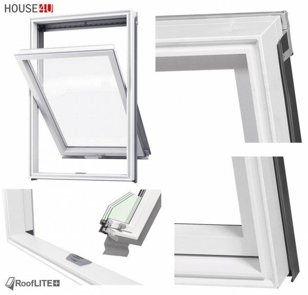 Okno dachowe ROOFLITE TRIO PVC APY B1500, Superenergooszczędne okno trzyszybowe Uw=1,1 W/m²K, z PVC wzmocnione aluminium, RAL 7043 z kołnierzem do pokryć falistych ROOFLITE TFX, do wilgotnych pomieszczeń – kuchni lub łazienki