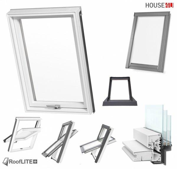 Promocja: Okno dachowe ROOFLITE TRIO PVC APY B1500 66x118 / 78x118 /78x140, Superenergooszczędne okno trzyszybowe Uw=1,1 W/m²K, z PVC wzmocnione aluminium, RAL 7043 z kołnierzem do pokryć falistych ROOFLITE UFX, do wilgotnych pomieszczeń – kuchni lub łazi