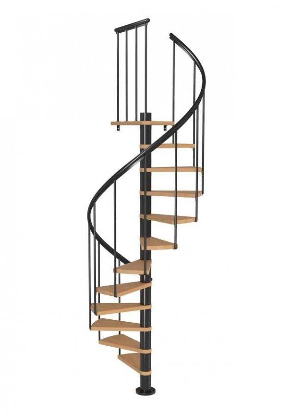 Spiralne schody Dolle Calgary - Ø 120 - 280,80 cm 11 stopni antracytowe ze stopniami bukowymi