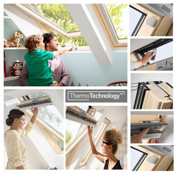 Okno Dachowe Velux GLL 1061B Uw = 1,1 Drewniane Okno obrotowe z dolnym otwieraniem i energooszczędnym pakietem szybowym
