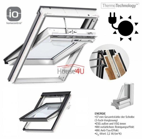 Okno Dachowe Velux INTEGRA GGU 006830 Uw = 1,1 Drewniano-poliuretanowe białe Okno obrotowe, solarne sterowane elektrycznie superenergooszczędne, szkło hartowane i laminowane P2A