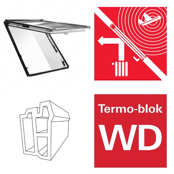 Okno dachowe Roto Designo uchylno-wysokościowe R86E K200 Okno z pakietem 3-szybowym Acoustic, szkło laminowane, plastikowe Uw = 1,1 Termo-blok WD