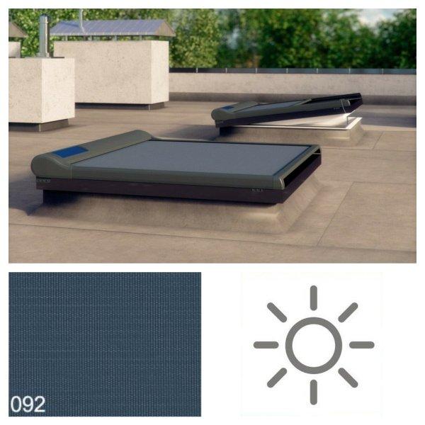 Fakro Markiza AMZ/F Solar do okien do płaskiego dachu – grupa II, przeznaczona do okien Typu F i G, materiał z 1% prześwitem względnym.