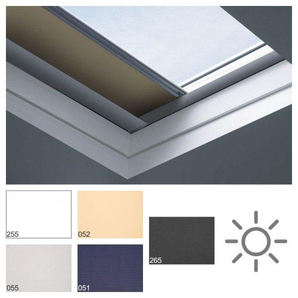 Fakro roleta zaciemniająca do dachów płaskich ARF/D Solar grupa cenowa I, przeznaczone do okien typu F, C oraz G zasilana z paneli solarnych obsługiwana pilotem.