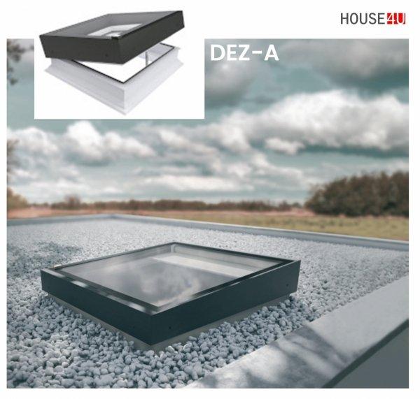 Fakro Okno do płaskiego dachu DEZ-A P2 U=0,95 W/m²K, otwierane elektrycznie w systemie Z-Wave, z spawanym elementem szklanym , szyba z pochyleniem.
