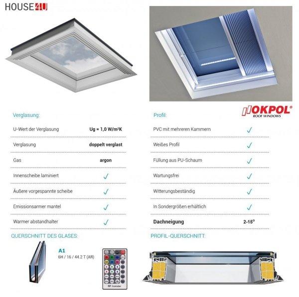 Okno dachowe Okpol PGX A1 LED, okno nieotwierane, dwuszybowe, w kolorze białym PVC UW=1,1, z oświetleniem LED+ polot SOMFY