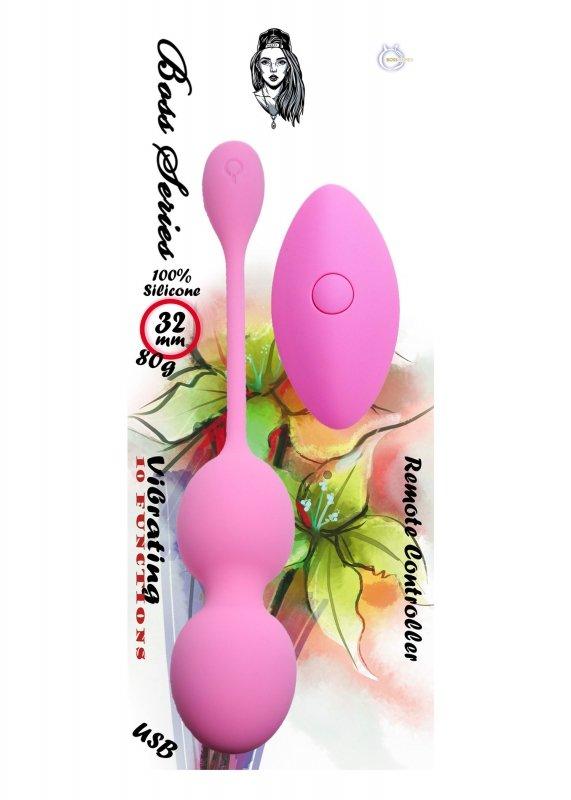 Vibrating Kegel Balls 32mm 80g Pink 10 function USB Remote Control