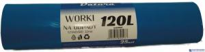 Worki na śmieci 120L 25szt/op DATURA standard niebieskie 32mic LDPE
