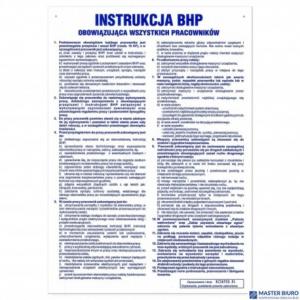 Tabliczka INSTRUKCJA BHP obowiązująca wszystkich pracowników ZZIB01P250x350