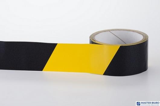 Taśma ostrzegawcza BHP żółto-czarna 50mm x 33m samoprzylepna PVC