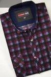Koszula sztruksowa bordowa w kratę.