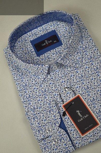 Koszula męska nadwymiar biała w niebieskie kwiatuszki.