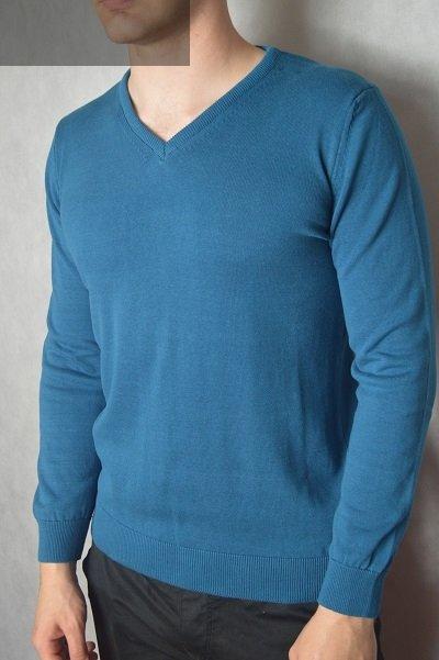 Elegancki sweter w serek turkusowy