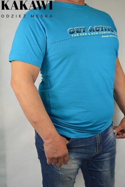 T-shirt turkusowy-nadwymiar.