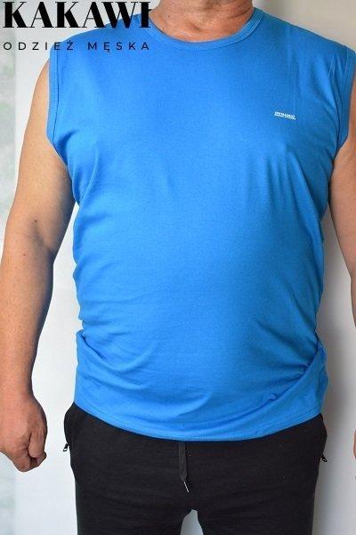 T-shirt bez rękawa niebieski nadwymiar.