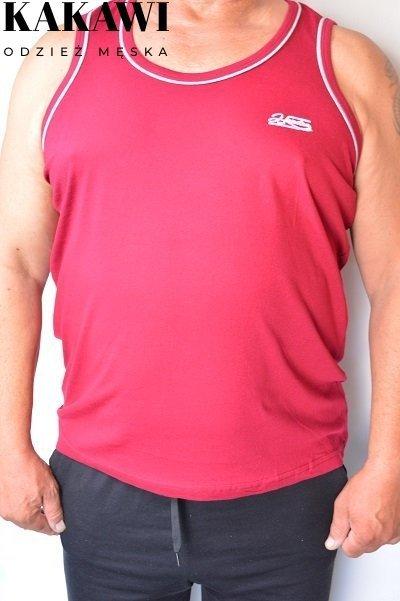 T-shirt na wąskie ramiączka bordowy nadwymiar.