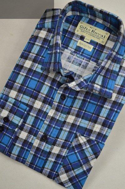 Koszula flanelowa z dwiema kieszeniami -turkusowo-biała