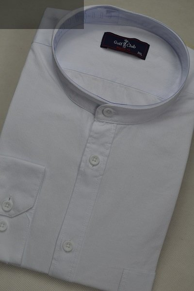 Koszula ze stójką biała slim